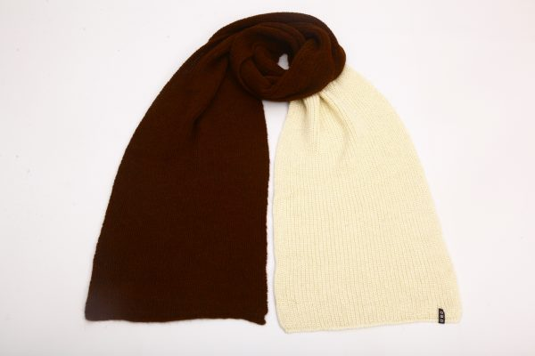brown and white alpaca wool scarf