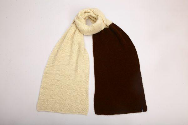 white and dark brown alpaca scarf