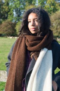 Dark brown and ivory alpaca wool scarf