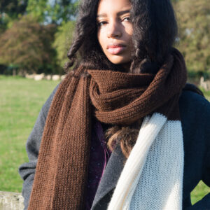 Dark brown and ivory alpaca wool scarf