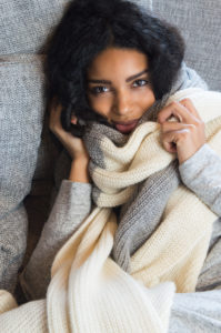 Grey and white alpaca scarf