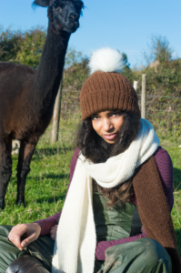 Ivory with dark brown scarf