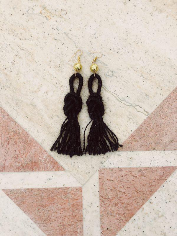 black ebony-alpaca-wool-earrings-handmade-tassel