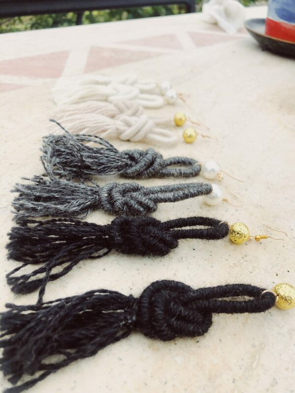 alpaca-wool-earrings-natural-colours- handmade-tassel