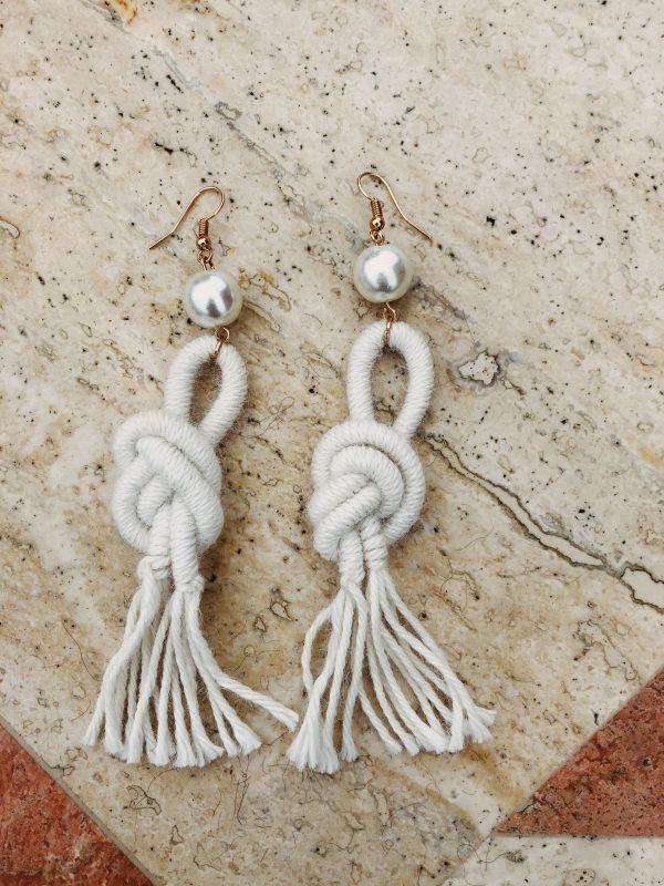 ivory- alpaca -wool-earrings -handmade- tassel
