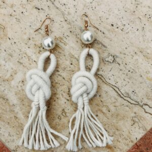 ivory- alpaca -wool-earrings -handmade- tassel