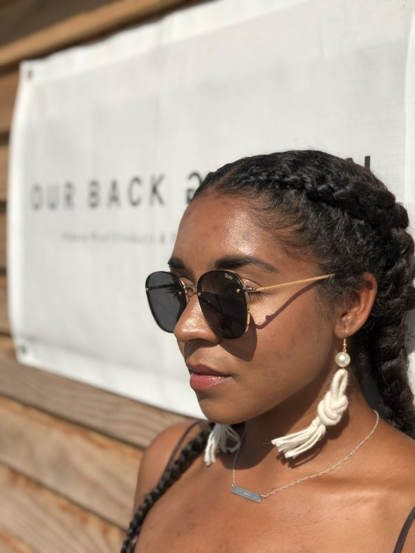 girl-wearing-alpaca -wool- earring - tassel
